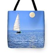 Sailboat At Full Moon Tote Bag by Elena Elisseeva