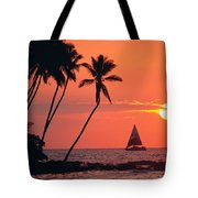 Sailboat At Sunset Tote Bag
