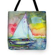 Sailboat Evening Wc On Paper Tote Bag