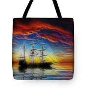 Sailboat Fractal Tote Bag by Shane Bechler