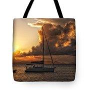 Sailboat In Sunset Tote Bag