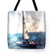 Sailboat Light W Metal Tote Bag