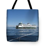 Sailboat Sees Ferryboat Tote Bag