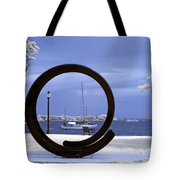 Sailboat Through Omphalos Sculpture Near Infrared Tote Bag