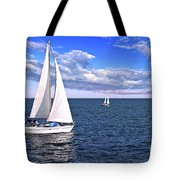 Sailboats At Sea Tote Bag