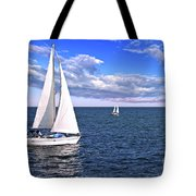 Sailboats At Sea Tote Bag by Elena Elisseeva