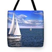 Sailboats At Sea Tote Bag