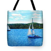 Sailboats In The Summer Tote Bag
