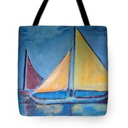 Sailboats With Red And Yellow Sails Tote Bag