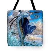 Sailfish And Flying Fish Tote Bag by Terry Fox