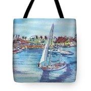 Sailing By Shoreline Village Tote Bag