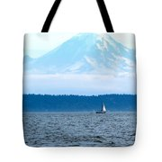 Sailing In Mt. Rainier's Shadow Tote Bag