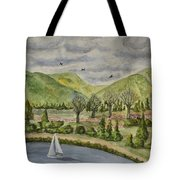 Sailing On A Cloudy Day Tote Bag