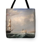 Sailing Ships Off The New England Coast Tote Bag