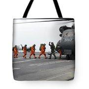 Sailors Board An Mh-53e Sea Dragon Tote Bag