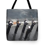 Sailors Fire A 21-gun Salute Tote Bag
