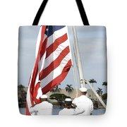 Sailors Hoist The American Flag Tote Bag