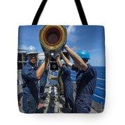 Sailors Load Rim-7 Sea Sparrow Missiles Tote Bag