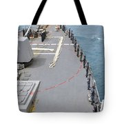 Sailors Man The Rails On Uss Mccampbell Tote Bag