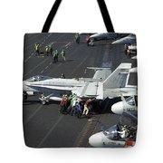 Sailors Push An Fa-18c Hornet Tote Bag