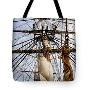 Sails Aboard The Hms Bounty Tote Bag