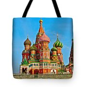 Saint Basil Cathedral In Red Square In Moscow- Russia Tote Bag