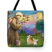 Saint Francis Blesses A Corgi And Her Pup Tote Bag