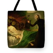 Saint Francis Borgia Helping A Dying Impenitent Tote Bag