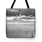 Saint Joseph Michigan Lighthouses Stormy Day At Silver Beach I Bw Tote Bag