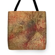 Saint Louis Missouri Street Map Schematic Watercolor On Old Parchment From 1903 Tote Bag
