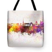 Saint Petersburg Skyline In Watercolor Background Tote Bag
