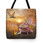 Sam Is Tickled With A Visiting Pelican Tote Bag