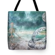 Sam Meditates With Time One Of Two Tote Bag
