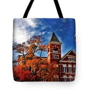 Samford Hall In The Fall Tote Bag by Victoria Lawrence