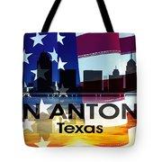 San Antonio Tx Patriotic Large Cityscape Tote Bag