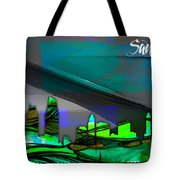 San Diego California Skyline Watercolor Tote Bag