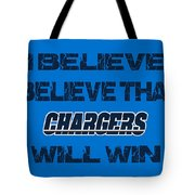 San Diego Chargers I Believe Tote Bag