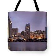 San Diego Skyline At Dusk Panoramic Tote Bag by Adam Romanowicz