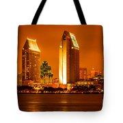San Diego Skyline At Night Along San Diego Bay Tote Bag