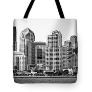 San Diego Skyline In Black And White Tote Bag