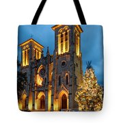 San Fernando Cathedral And Christmas Tree Main Plaza - San Antonio Texas Tote Bag