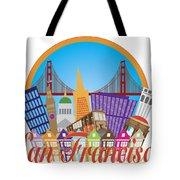 San Francisco Abstract Skyline Golden Gate Bridge Illustration Tote Bag
