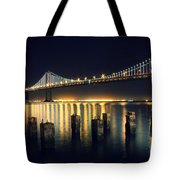 San Francisco Bay Bridge Illuminated Tote Bag