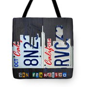San Francisco California Skyline License Plate Art Tote Bag