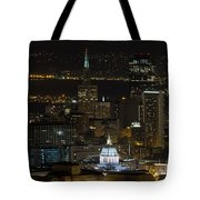 San Francisco Cityscape With City Hall At Night Tote Bag
