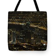 San Francisco Cityscape With Oakland Bay Bridge At Night Tote Bag