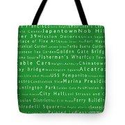 San Francisco In Words Green Tote Bag
