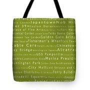 San Francisco In Words Olive Tote Bag