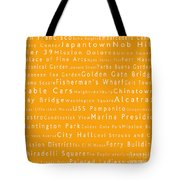San Francisco In Words Orange Tote Bag