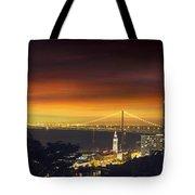 San Francisco Oakland Bay Bridge At Sunset Tote Bag